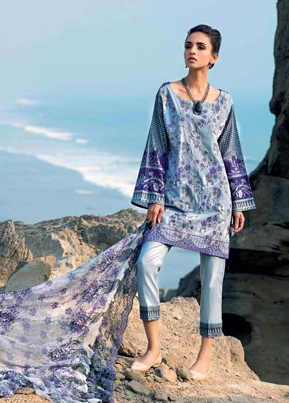 Gul Ahmed Embroidered Lawn Unstitched 3 Piece Suit GA18L CT-247 - Premium Collection