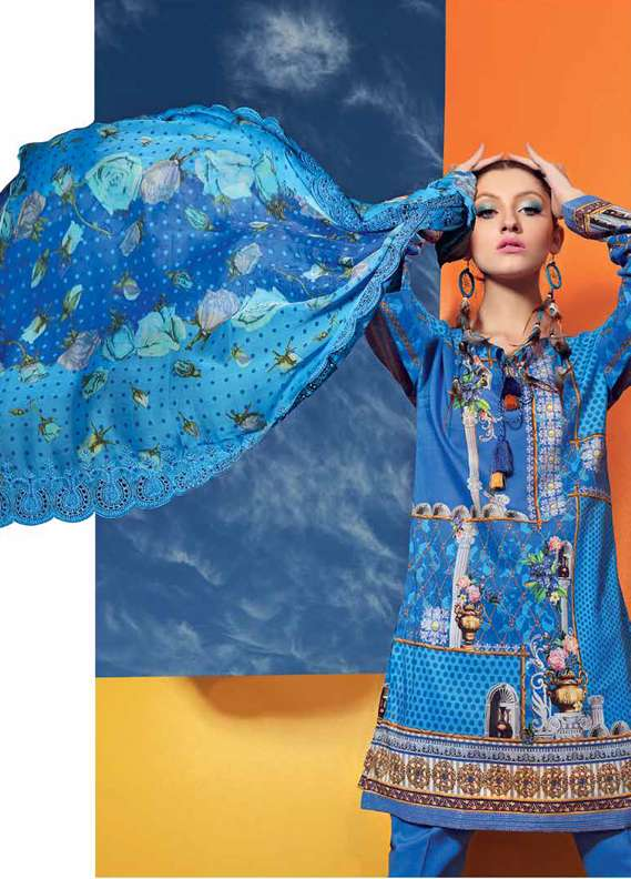 Gul Ahmed Printed Lawn Unstitched 3 Piece Suit GA18L CT-251 - Premium Collection