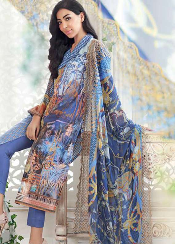 Gul Ahmed Printed Lawn Unstitched 3 Piece Suit GA18L CT-253 - Premium Collection