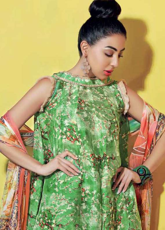 Gul Ahmed Printed Lawn Unstitched 3 Piece Suit GA18L LC-12 - Premium Collection