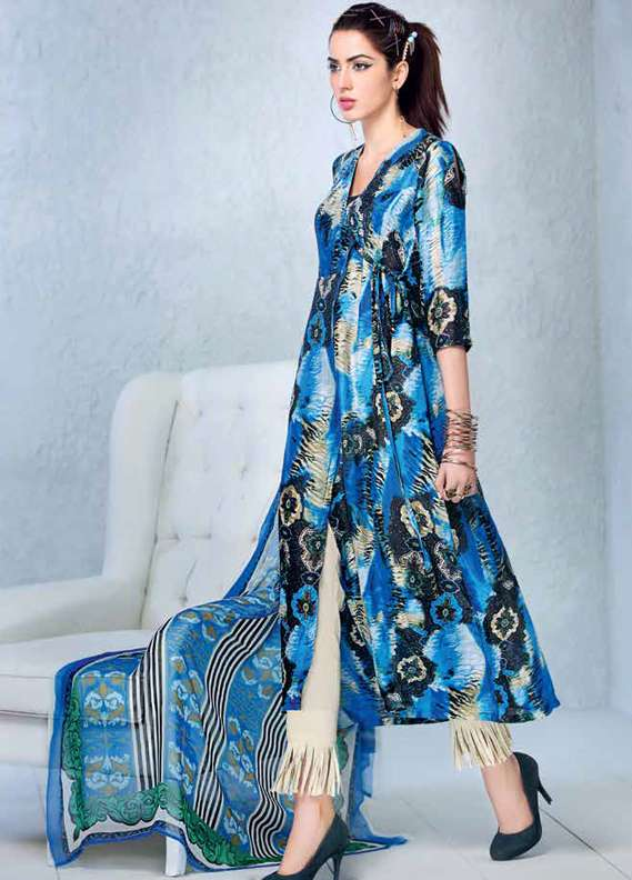Gul Ahmed Printed Lawn Unstitched 3 Piece Suit GA18L LC-17 - Premium Collection