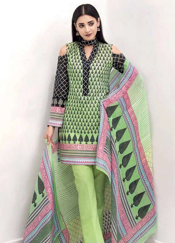 Gul Ahmed Printed Lawn Unstitched 3 Piece Suit GA18L LCS-03 - Premium Collection