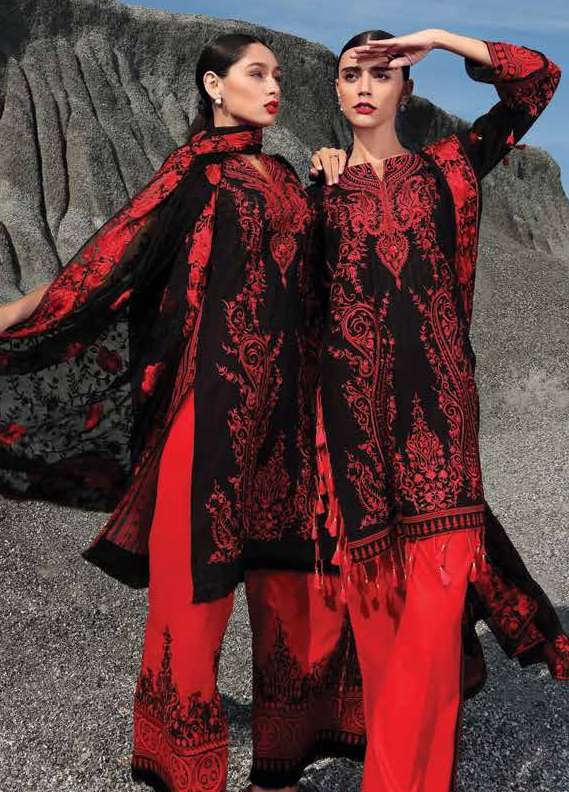 Gul Ahmed Embroidered Lawn Unstitched 3 Piece Suit GA18L PM-177 - Premium Collection