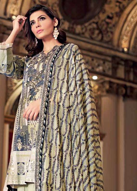 Gul Ahmed Embroidered Lawn Unstitched 3 Piece Suit GA18L PM-194 - Premium Collection