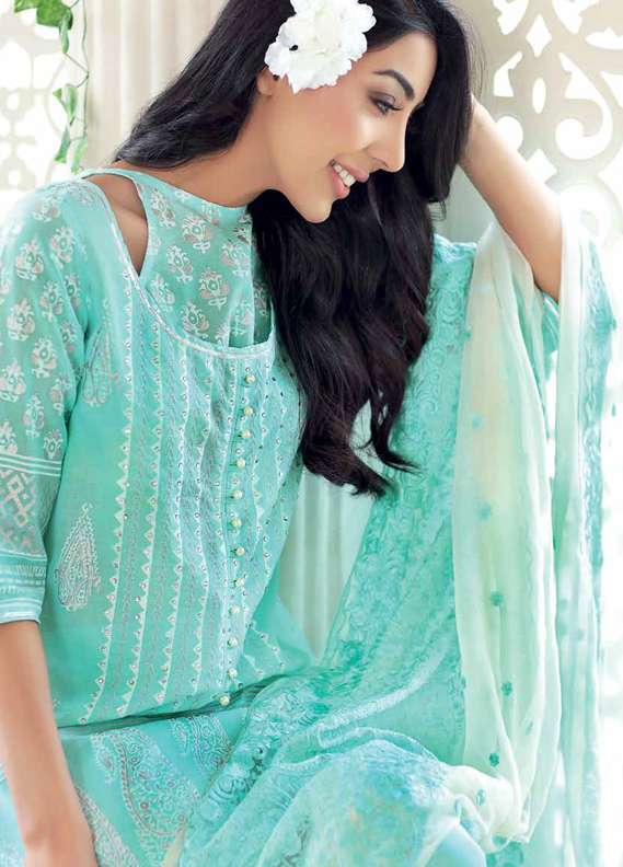 Gul Ahmed Embroidered Lawn Unstitched 3 Piece Suit GA18L PM-209 - Premium Collection