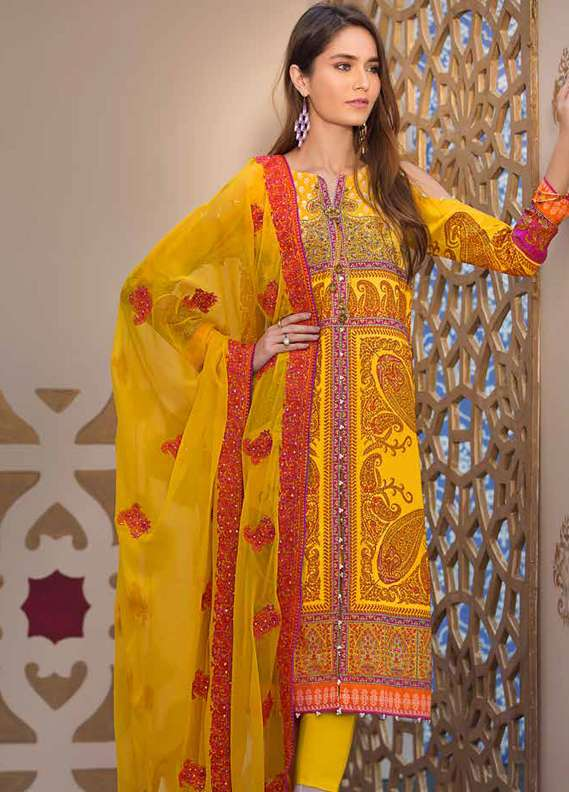 Gul Ahmed Printed Lawn Unstitched 3 Piece Suit GA18L PM-214 - Premium Collection