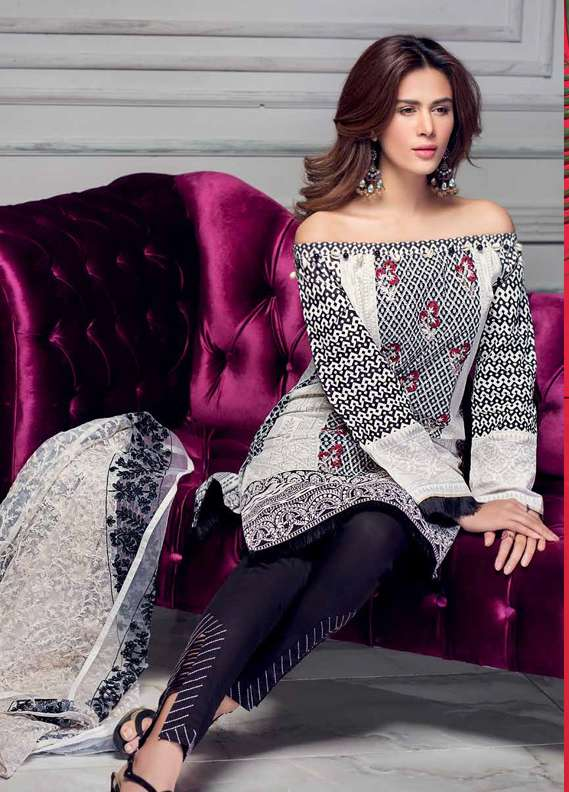 Gul Ahmed Embroidered Lawn Unstitched 3 Piece Suit GA18L PM-215 - Premium Collection