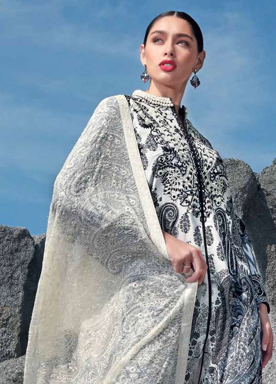 Gul Ahmed Embroidered Lawn Unstitched 3 Piece Suit GA18L PM-227 - Premium Collection