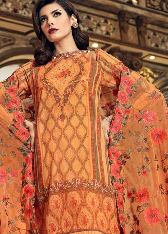 Gul Ahmed Printed Lawn Unstitched 3 Piece Suit GA18L PM-228 - Premium Collection