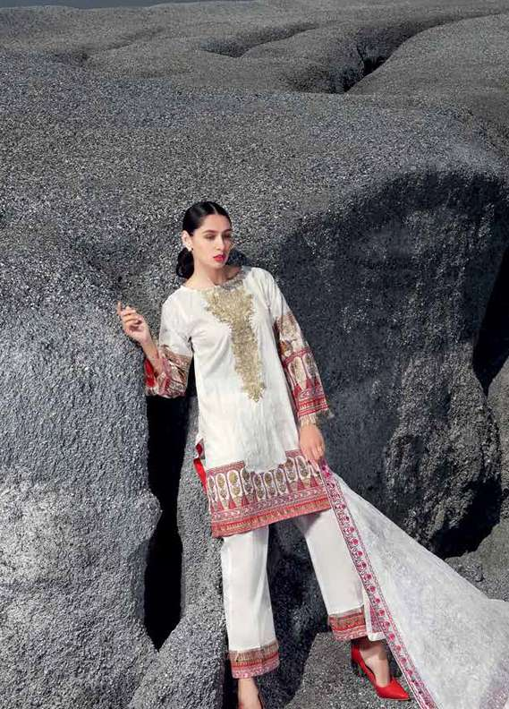 Gul Ahmed Embroidered Lawn Unstitched 3 Piece Suit GA18L PM-230 - Premium Collection