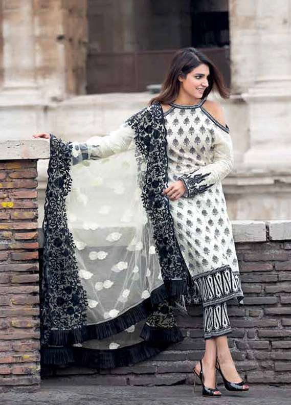 Gul Ahmed Embroidered Lawn Unstitched 3 Piece Suit GA18L PM-238 - Premium Collection