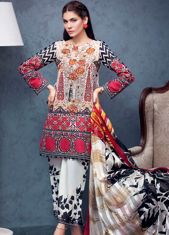Gul Ahmed Embroidered Lawn Unstitched 3 Piece Suit GA18L RS-07 - Premium Collection