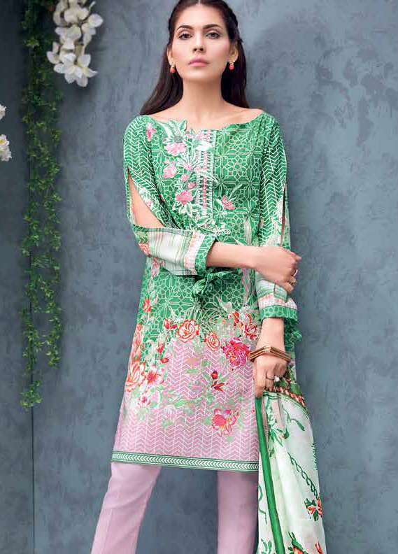 Gul Ahmed Embroidered Lawn Unstitched 3 Piece Suit GA18L SS-158 - Premium Collection