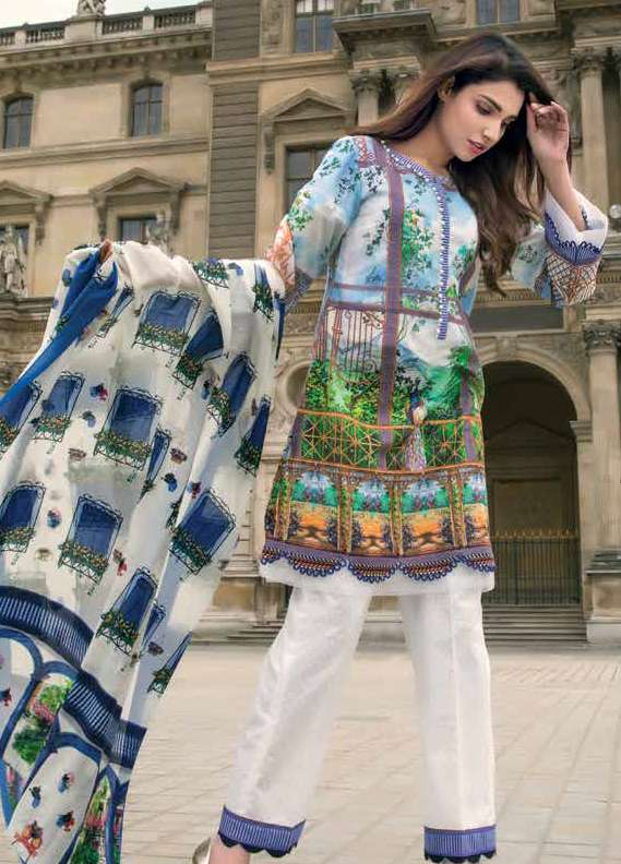 Gul Ahmed Printed Lawn Unstitched 3 Piece Suit GA18L SS-161 - Premium Collection