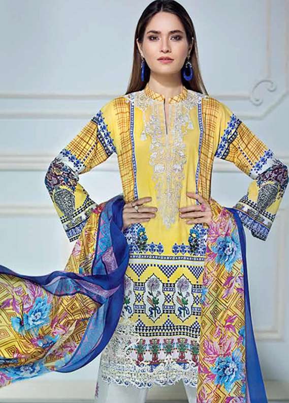 Gul Ahmed Embroidered Lawn Unstitched 3 Piece Suit GA18L SS-165 - Premium Collection