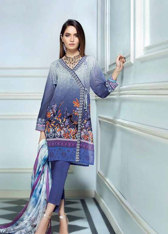 Gul Ahmed Printed Lawn Unstitched 3 Piece Suit GA18L SS-166 - Premium Collection