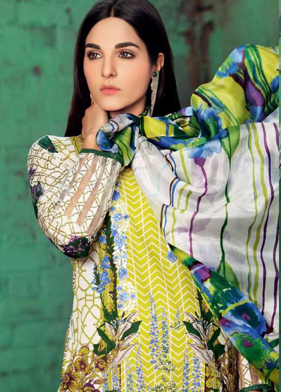 Gul Ahmed Printed Lawn Unstitched 3 Piece Suit GA18L SS-171 - Premium Collection