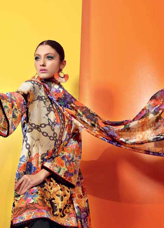 Gul Ahmed Printed Lawn Unstitched 3 Piece Suit GA18L SS-175 - Premium Collection