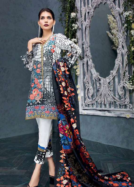 Gul Ahmed Embroidered Lawn Unstitched 3 Piece Suit GA18L SS-178 - Premium Collection