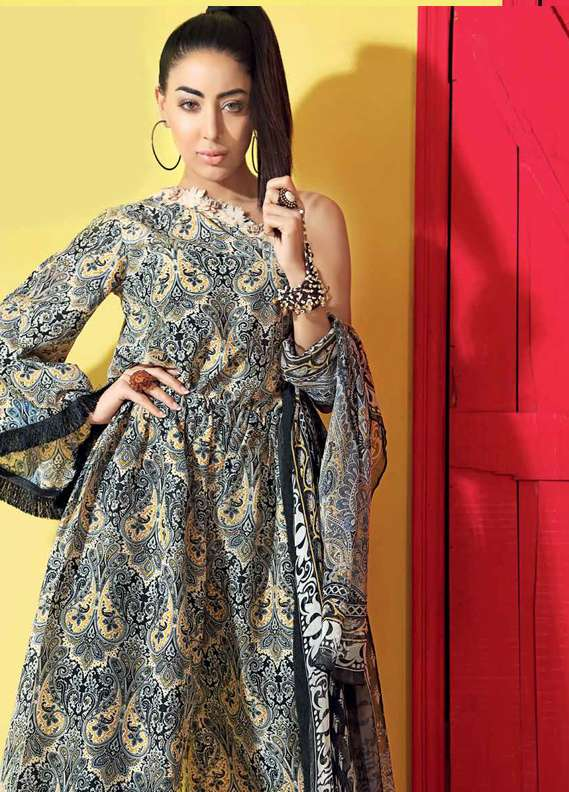 Gul Ahmed Printed Lawn Unstitched 3 Piece Suit GA18L SY-17 - Premium Collection