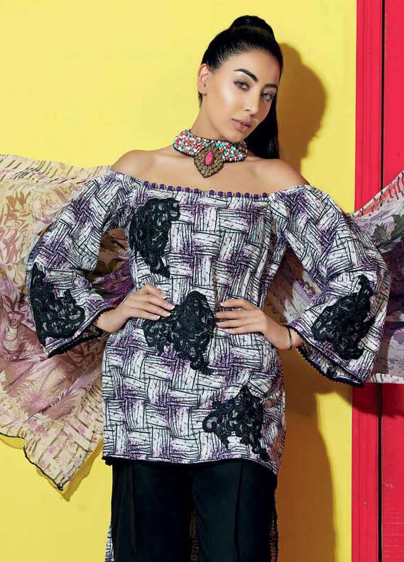 Gul Ahmed Printed Lawn Unstitched 3 Piece Suit GA18L SY-19 - Premium Collection