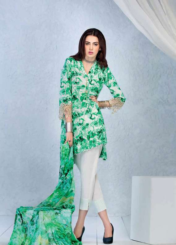 Gul Ahmed Printed Lawn Unstitched 3 Piece Suit GA18L SY-20 - Premium Collection