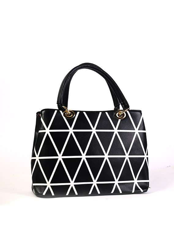 PU Leather Satchels Handbags for Women - Black with Geometrical Design , Zip closure
