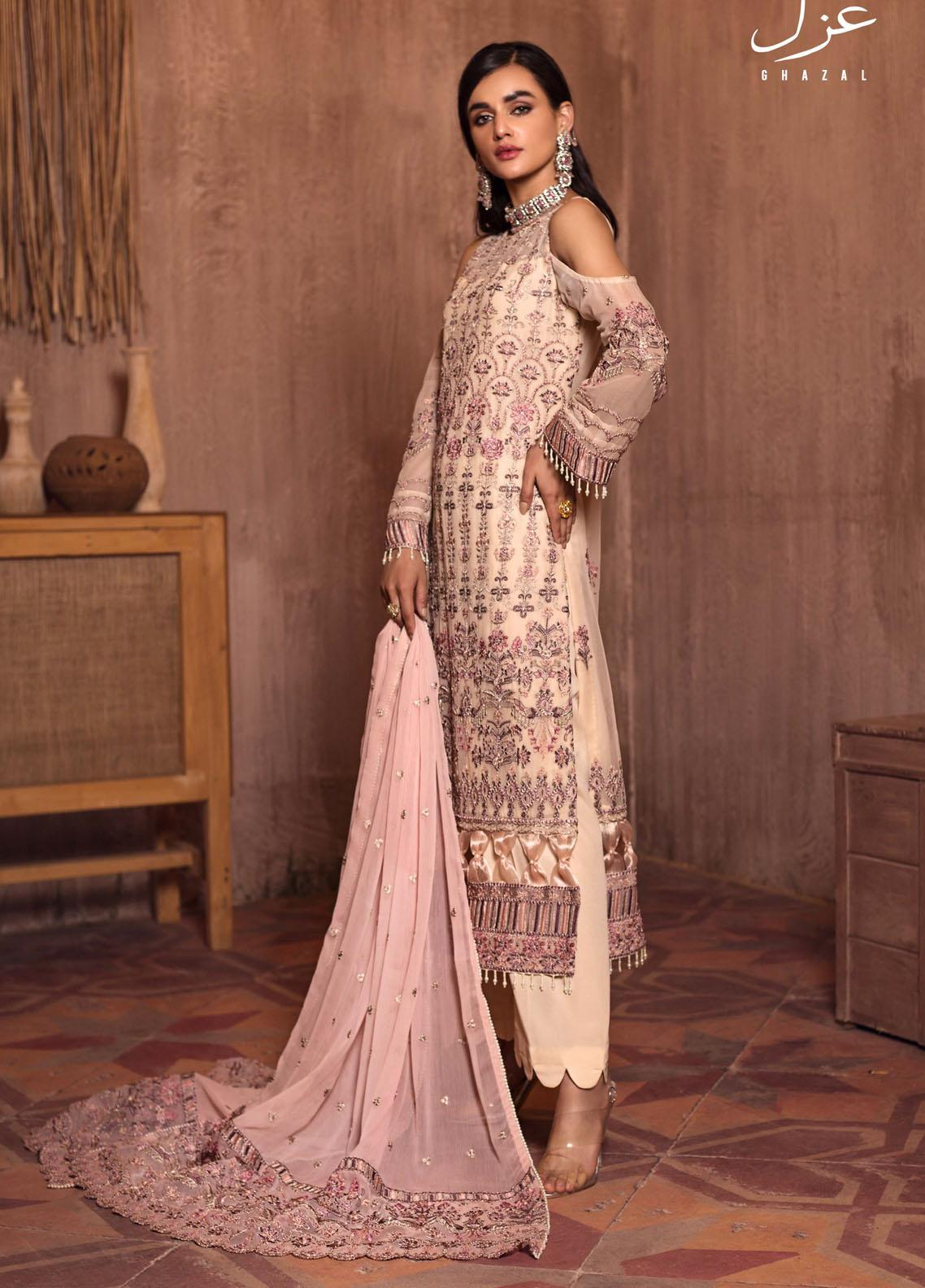 Ghazal By Zarif Embroidered Chiffon Suits Unstitched 3 Piece ZF21G 06 Nazakat - Festive Collection