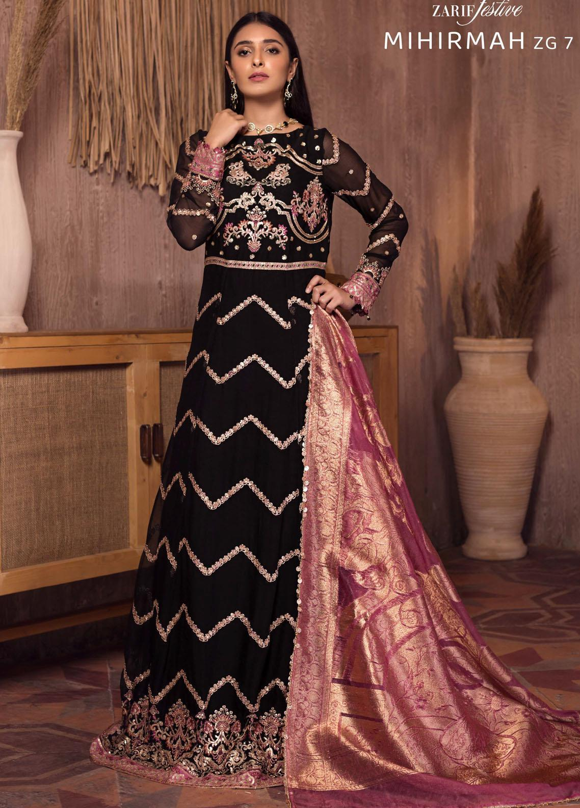 Ghazal By Zarif Embroidered Chiffon Suits Unstitched 3 Piece ZF21G 07 Mihirmah - Festive Collection