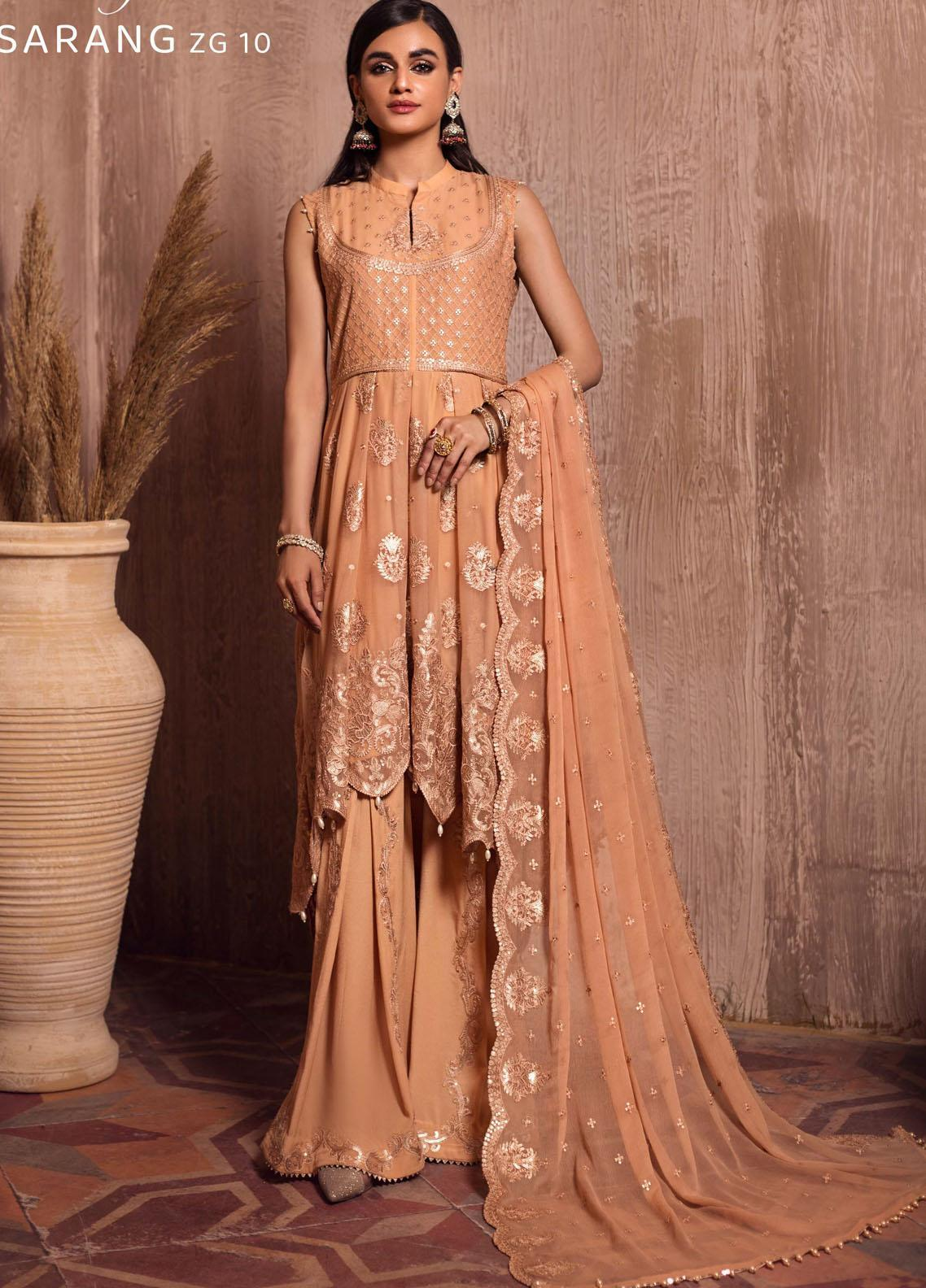 Ghazal By Zarif Embroidered Chiffon Suits Unstitched 3 Piece ZF21G 10 Sarang - Festive Collection