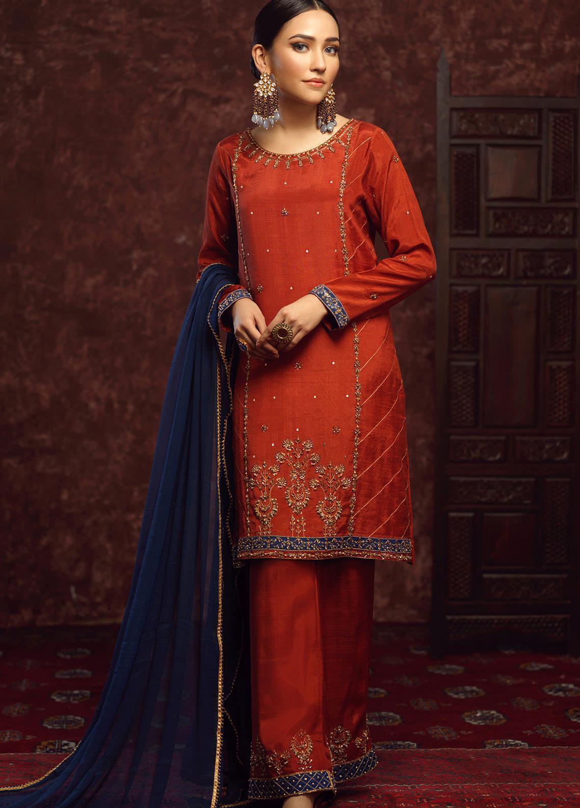 Zaaviay Embroidered Raw Silk Stitched 3 Piece Suit GEHNA - 019 SUNSITARA