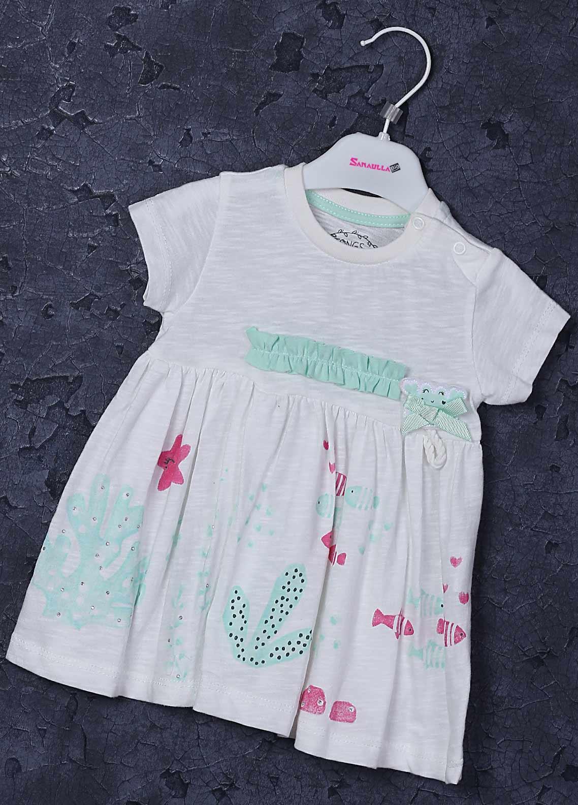 Sanaulla Exclusive Range Cotton Fancy Frocks for Girls -  2246 Off White
