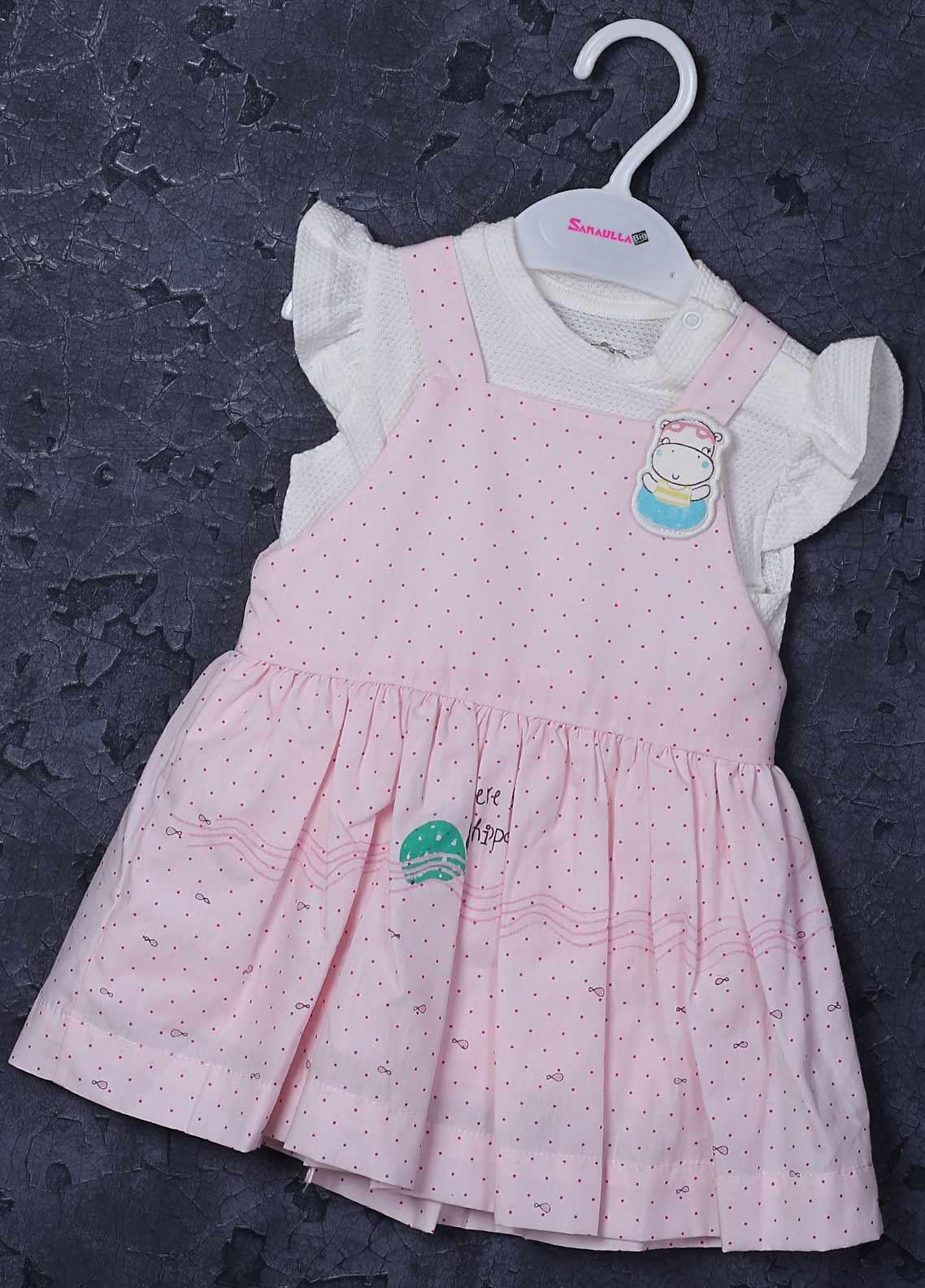 Sanaulla Exclusive Range Cotton Fancy Frocks for Girls -  2545 Pink