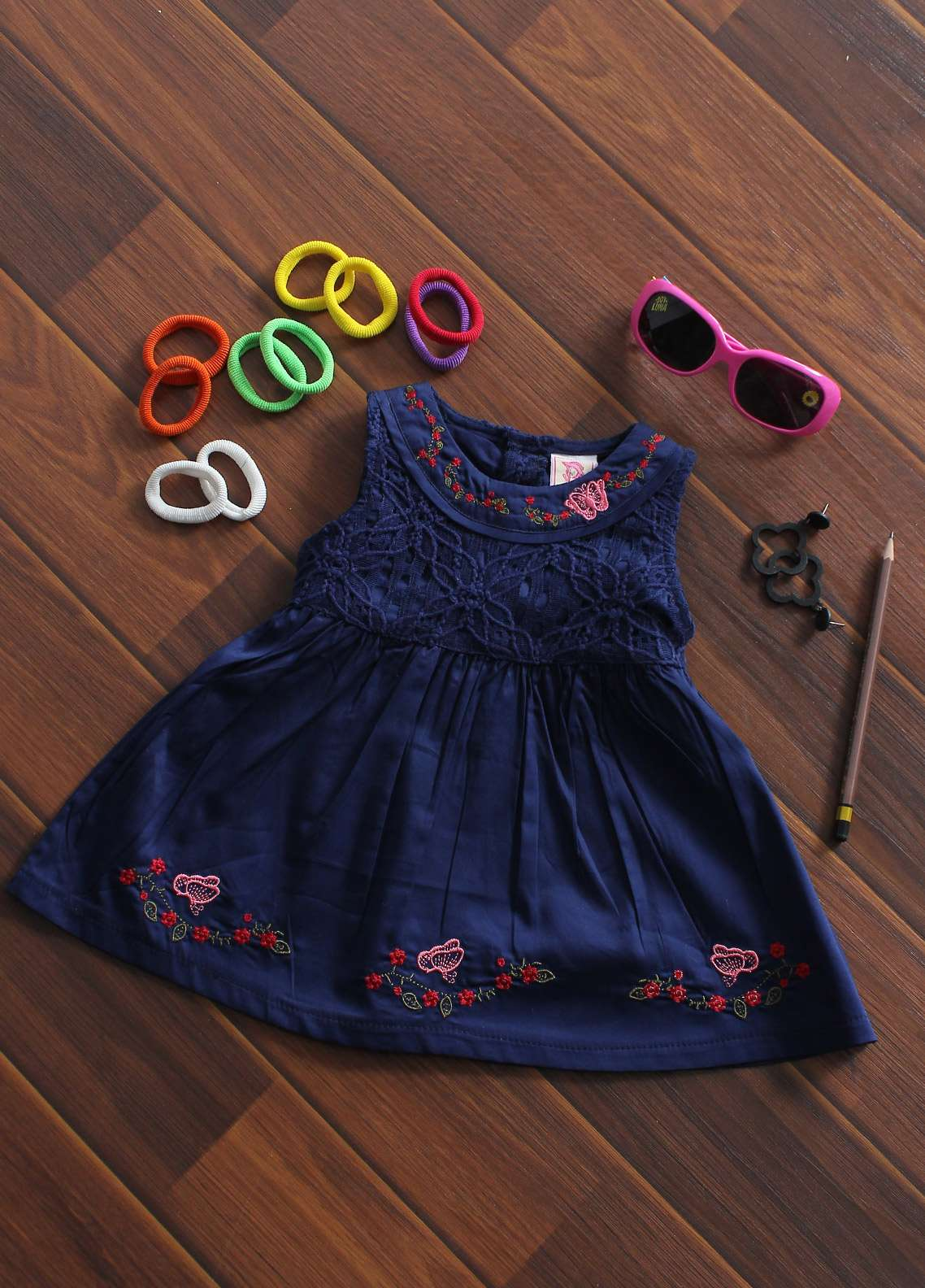 Sanaulla Exclusive Range Cotton Fancy Girls Frocks -  519 Blue
