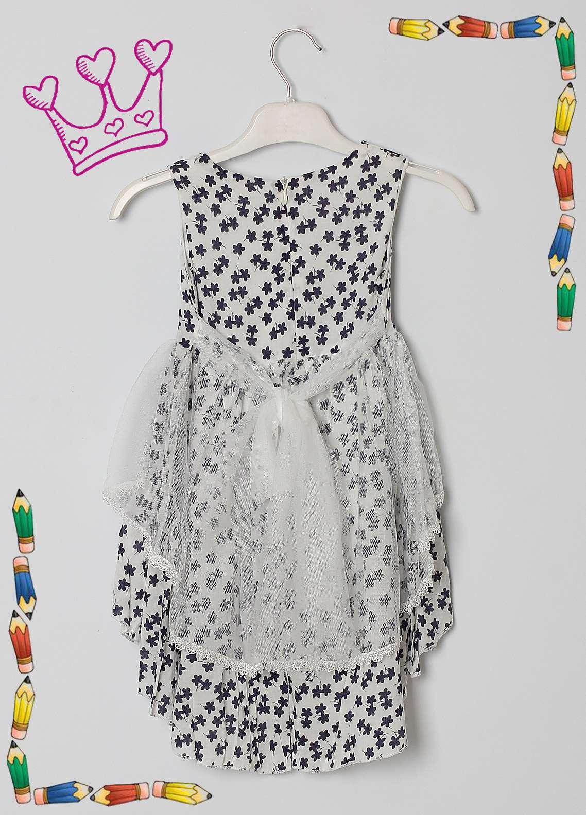 Sanaulla Exclusive Range Cotton Net Fancy Girls Frocks -  5465 White