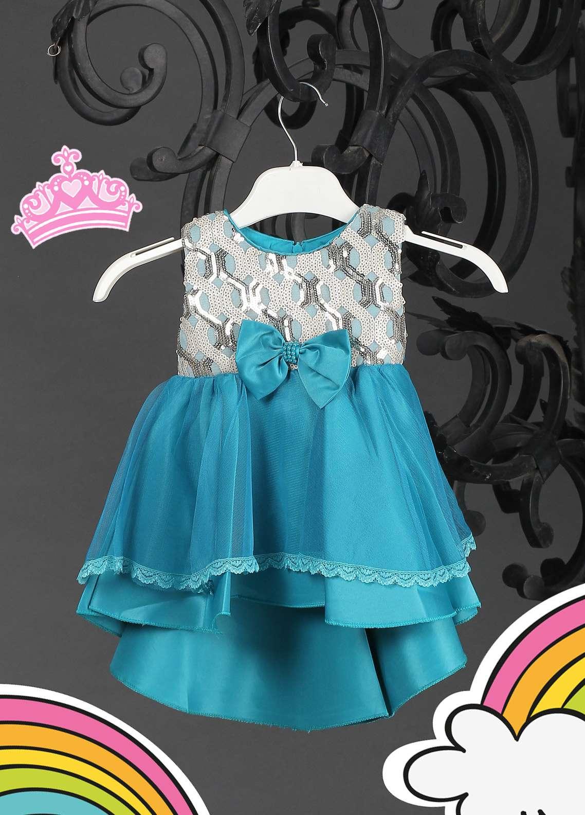 Sanaulla Exclusive Range Cotton Net Fancy Frocks for Girls - 8565 Sky Blue