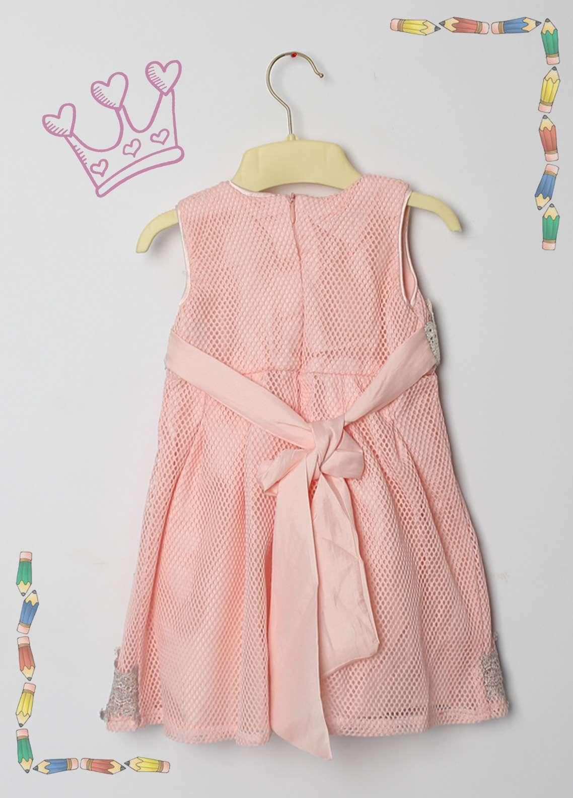 Sanaulla Exclusive Range Cotton Net Fancy Girls Frocks -  9001 Pink