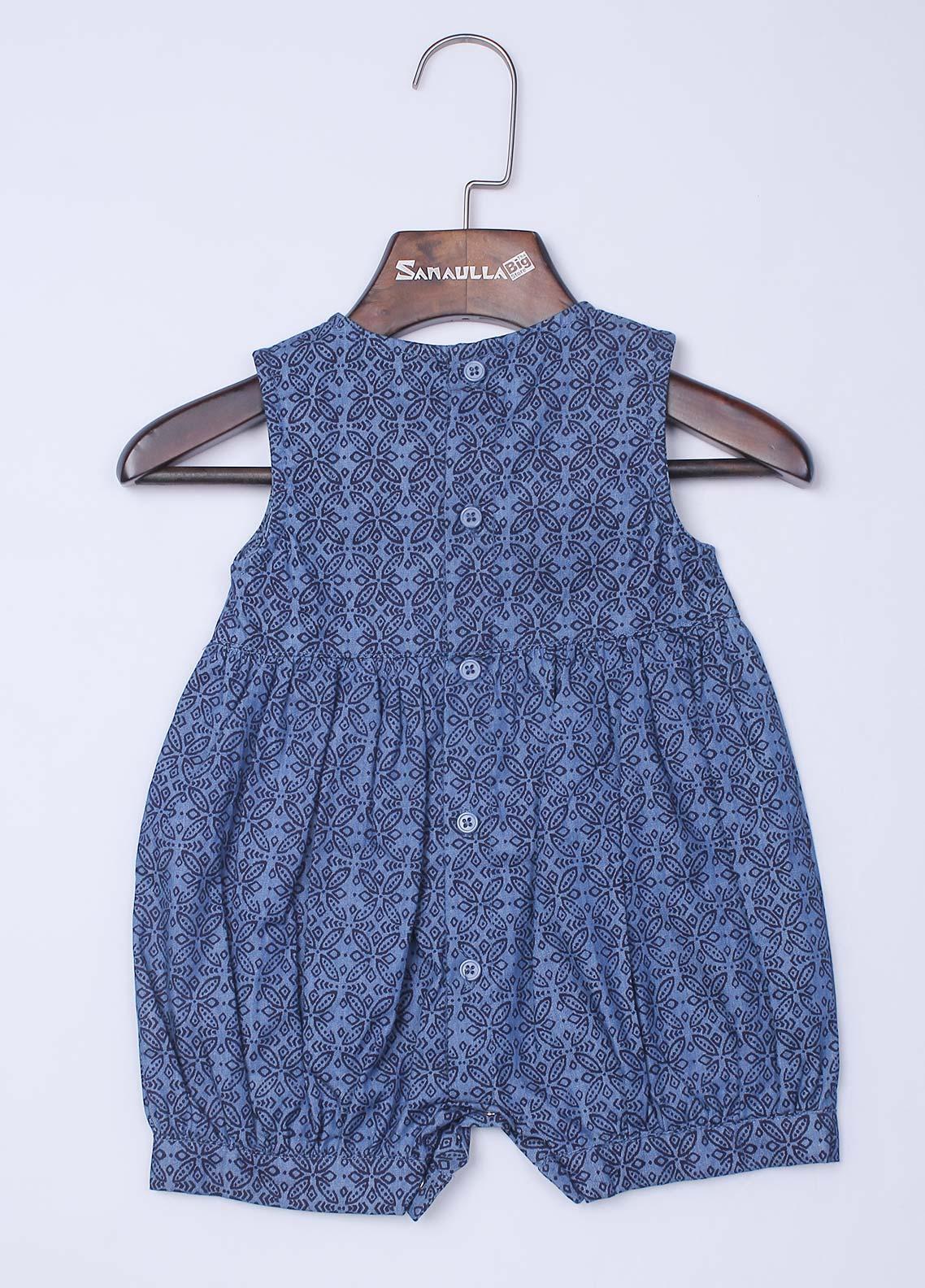 Sanaulla Exclusive Range Cotton Frock Style 1 Piece Suit for Girls -  08 Dark Blue