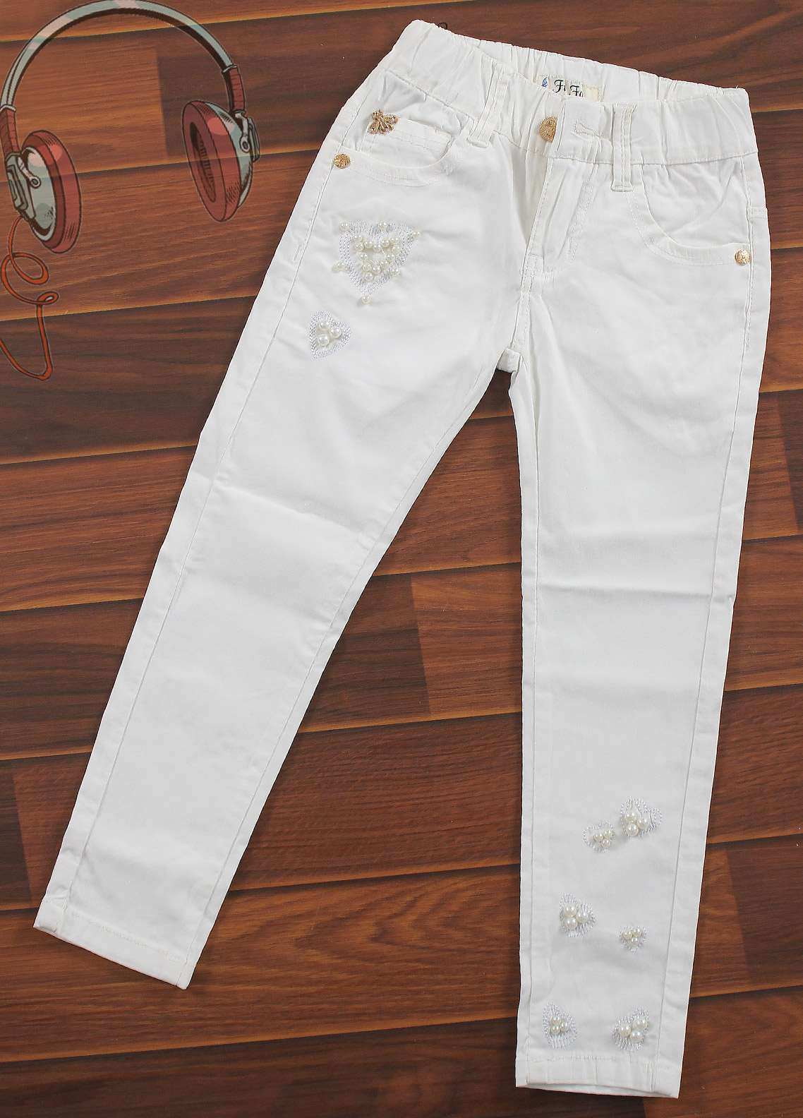 Sanaulla Exclusive Range Cotton Casual Pants for Girls -  1980-White