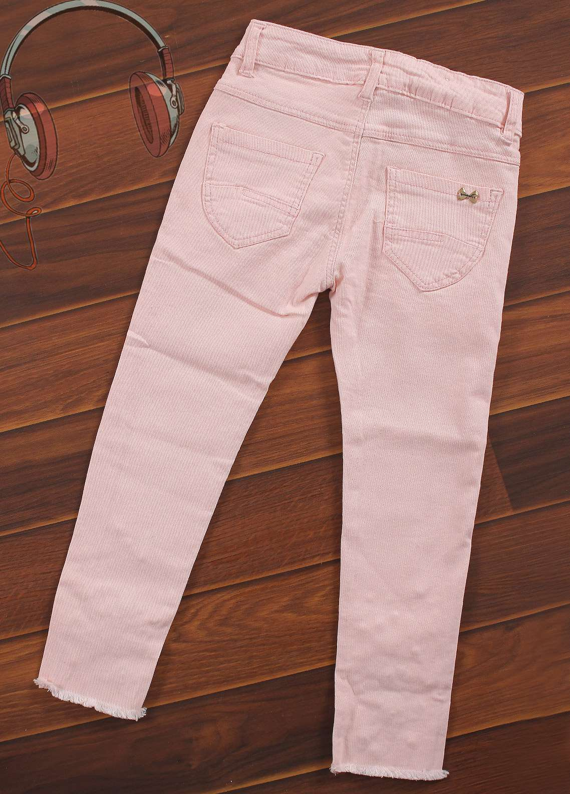 Sanaulla Exclusive Range Cotton Casual Girls Pants -  8283-Pink