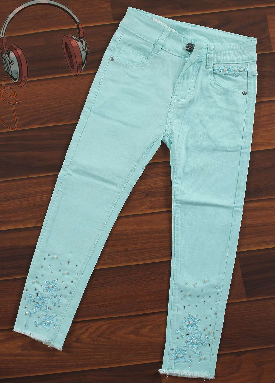 Sanaulla Exclusive Range Cotton Casual Pants for Girls -  8283-Sky Blue