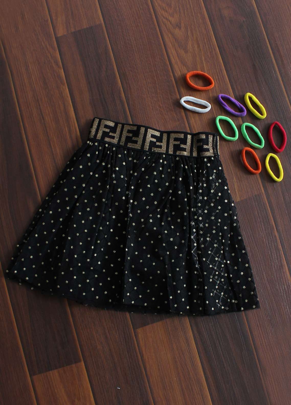 Sanaulla Exclusive Range Cotton Net Fancy Skirts for Girls -  818 Black & Gold