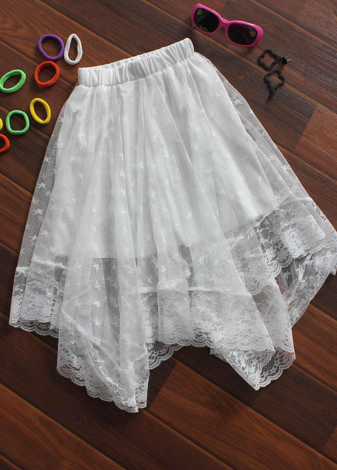Sanaulla Exclusive Range Cotton Net Fancy Skirts for Girls -  845 White