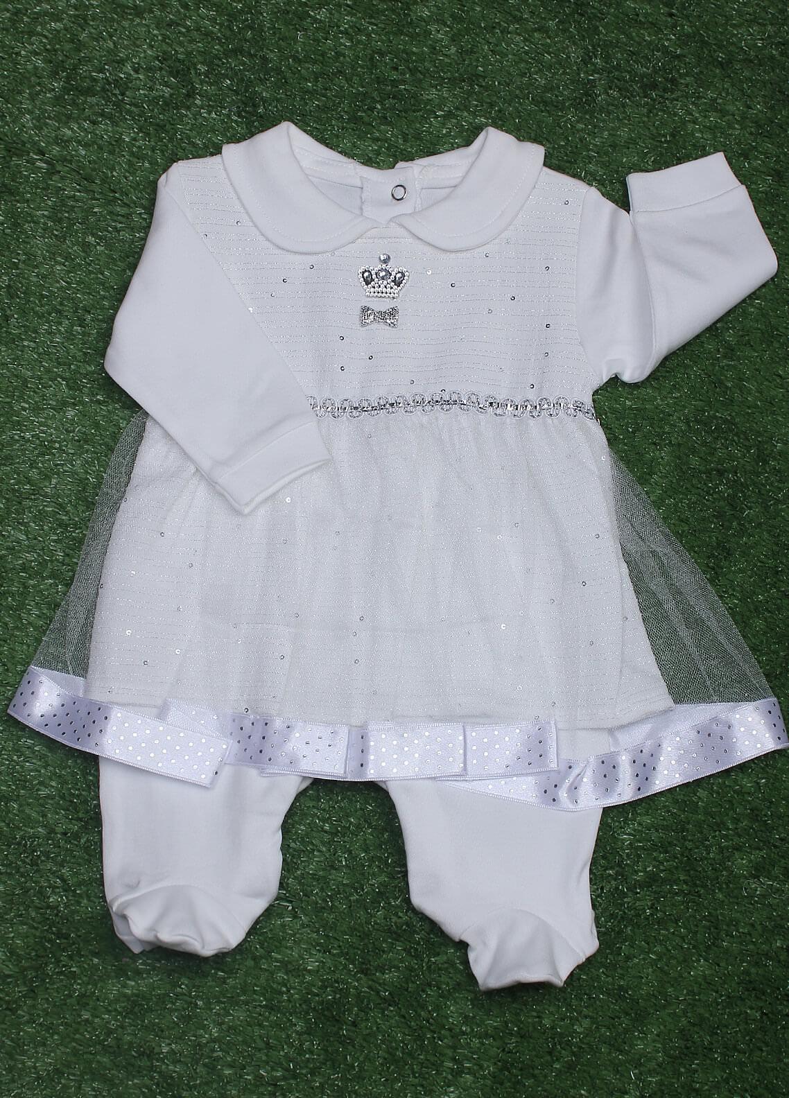 Sanaulla Exclusive Range Cotton Fancy Frocks for Girls -  4055 White