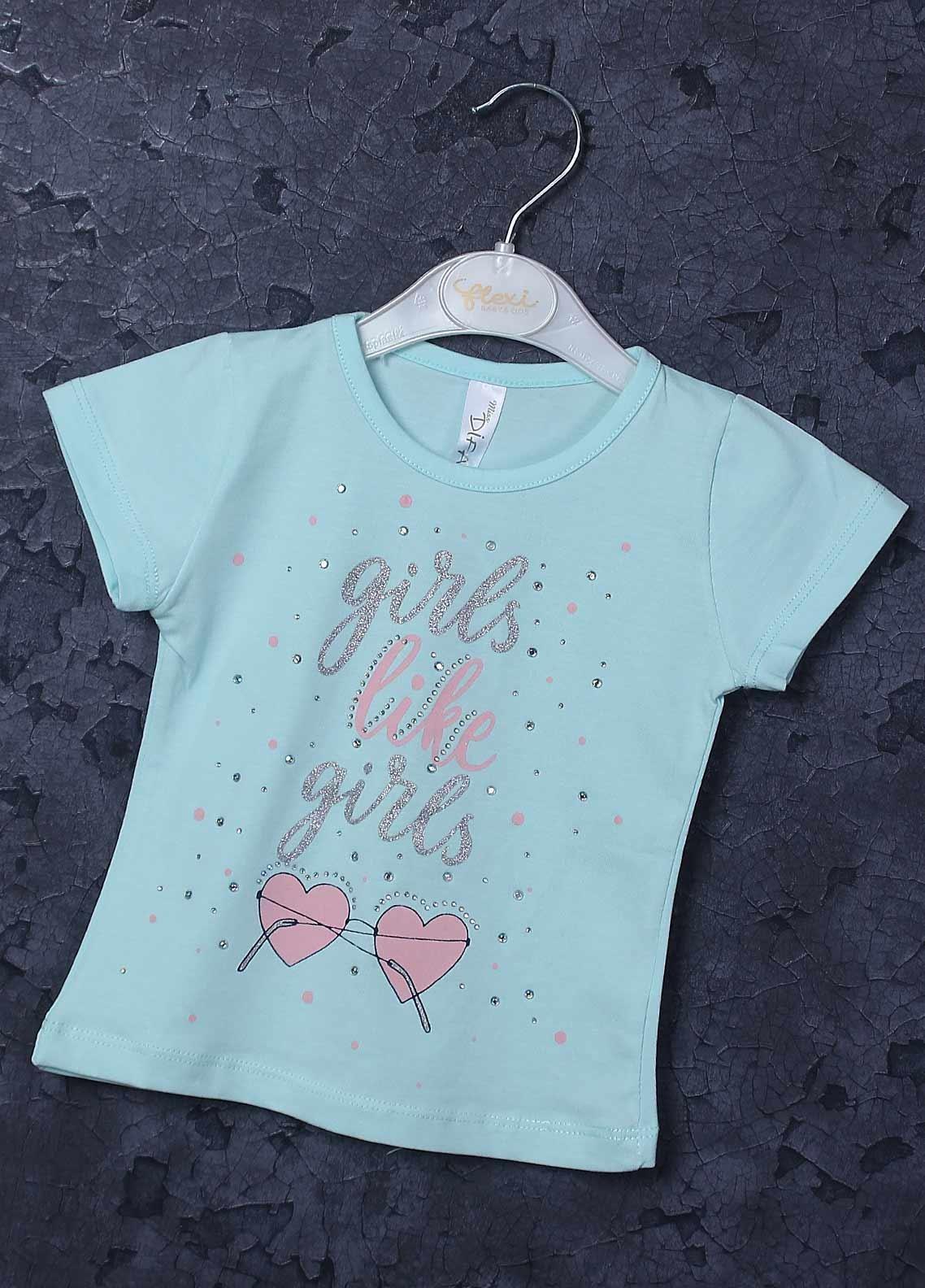 Sanaulla Exclusive Range Mix Cotton Printed Girls T-Shirts -  95731 Sky Blue