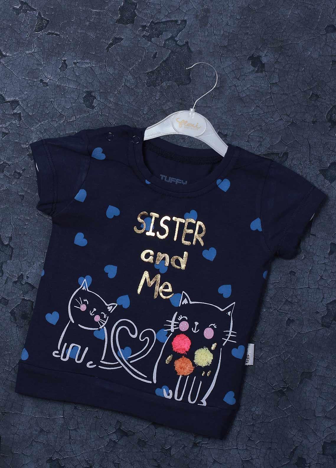 Sanaulla Exclusive Range Mix Cotton Printed T-Shirts for Girls -  98255 Navy Blue