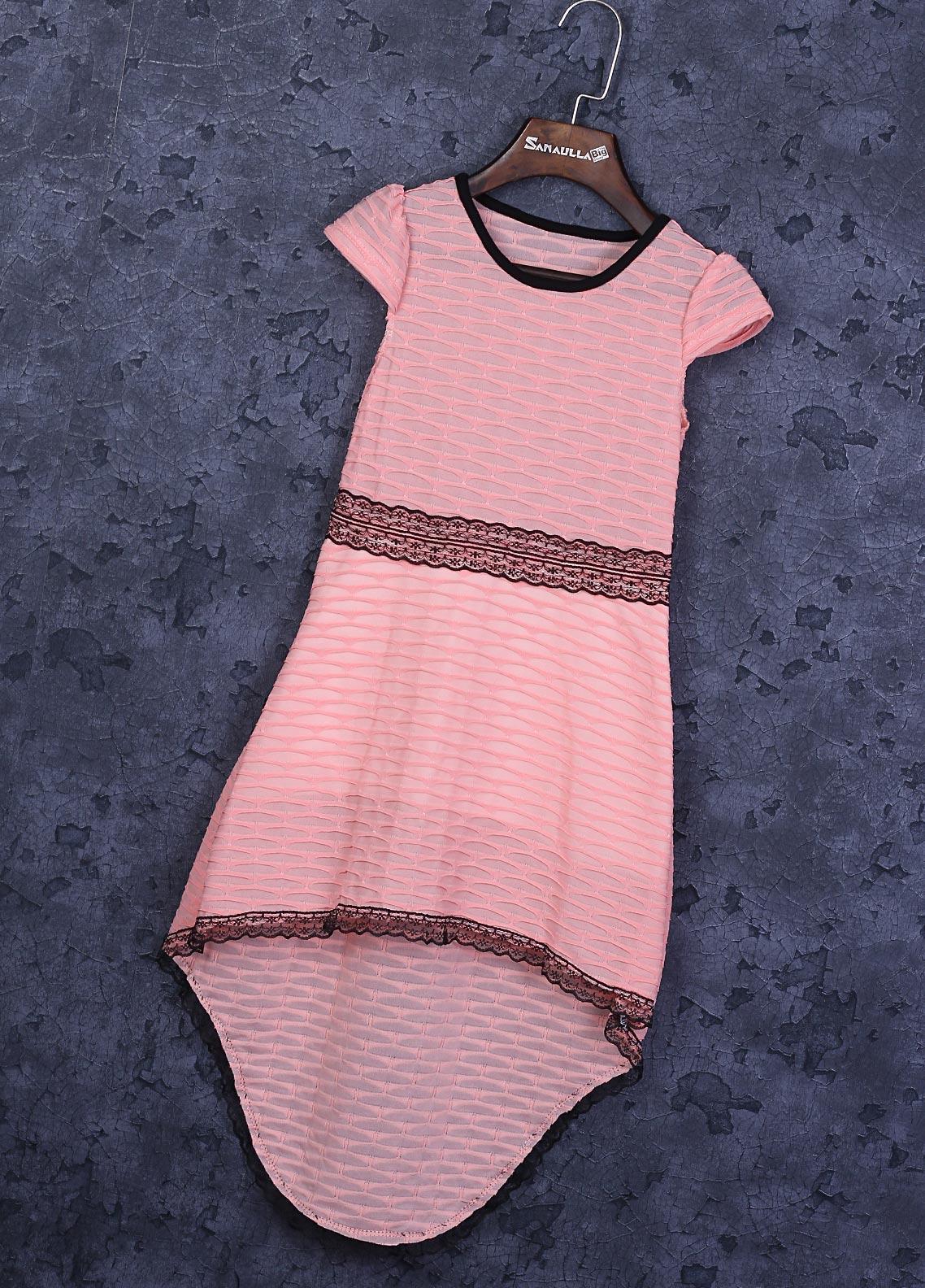 Sanaulla Exclusive Range Cotton Fancy Girls Frocks -  22457-2 Light Pink
