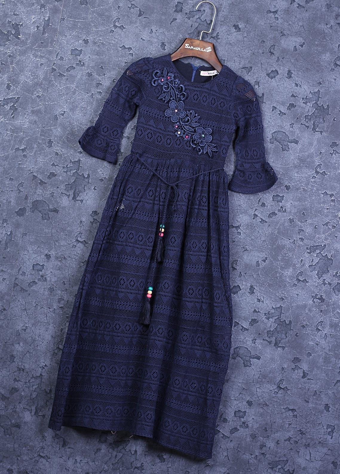 Sanaulla Exclusive Range Cotton Fancy Girls Frocks -  22501 Navy Blue