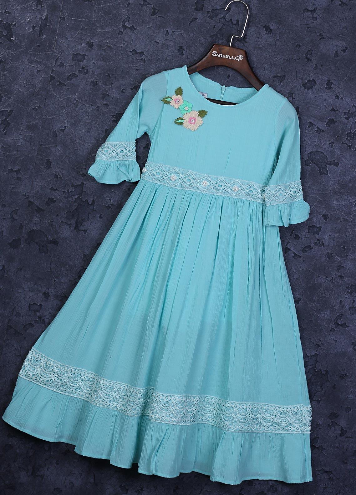 Sanaulla Exclusive Range Cotton Fancy Frocks for Girls -  22506-3 Ferozi