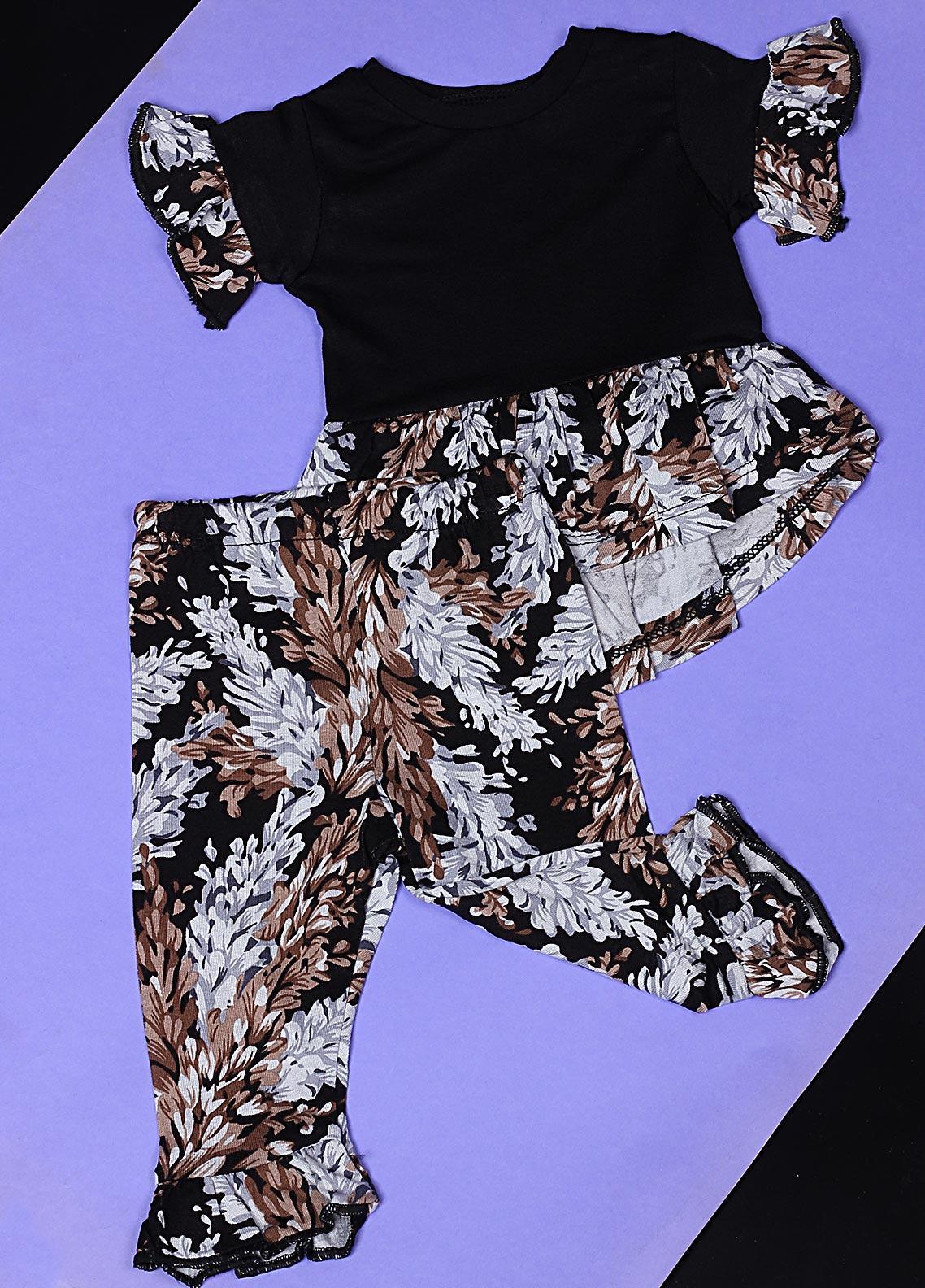 Sanaulla Exclusive Range Cotton Casual Girls Suit -  22595-3 Black/Grey